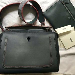 Fendi Bags - FENDI Dotcom Navy Leather Shoulder Bag
